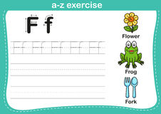 Alphabet a-z exercise. With cartoon vocabulary illustration stock illustration