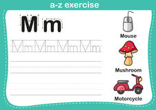 Alphabet a-z exercise. With cartoon vocabulary illustration Stock Photography