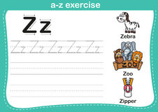 Alphabet a-z exercise with cartoon vocabulary illustration Stock Photo