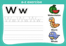 Alphabet a-z exercise. With cartoon vocabulary illustration Royalty Free Stock Image