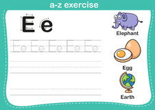 Alphabet a-z exercise with cartoon vocabulary illustration Stock Image