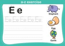 Alphabet a-z exercise with cartoon vocabulary illustration Stock Image