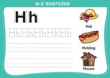 Alphabet a-z exercise with cartoon vocabulary illustration Royalty Free Stock Image