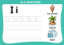 Alphabet a-z exercise with cartoon vocabulary illustration Royalty Free Stock Photography