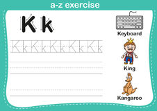 Alphabet a-z exercise with cartoon vocabulary illustration Royalty Free Stock Image