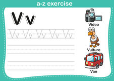 Alphabet a-z exercise with cartoon vocabulary illustration Stock Photography