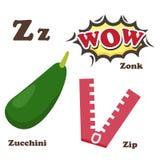 Alphabet Z letter.Zip,Zonk,Zucchini Stock Images