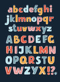 Alphabet A-Z Outline Color. Vector cartoon vector English alphabet A-Z Outline Color. Sans hand drawn typeface. Uppercase and lowercase letters set in a Stock Photos