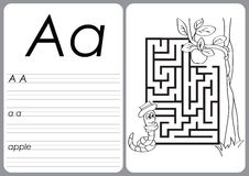 Alphabet A-Z - puzzle Worksheet - Coloring book Stock Photography