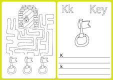 Alphabet A-Z - puzzle Worksheet, Exercises for kids - Coloring book. Illustration and vector outline royalty free illustration