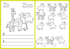 Alphabet A-Z - puzzle Worksheet, Exercises for kids - Coloring book Royalty Free Stock Image