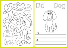 Alphabet A-Z - puzzle Worksheet, Exercises for kids - Coloring book. Illustration and vector outline Royalty Free Stock Photography