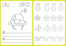 Alphabet A-Z - puzzle Worksheet, Exercises for kids - Coloring book Stock Images