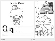 Alphabet A-Z Tracing et fiche de travail de puzzle, exercices pour des enfants - livre de coloriage Image stock