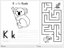 Alphabet A-Z Tracing and puzzle Worksheet,  Exercises for kids - Coloring book Stock Photos