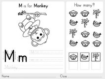 Alphabet A-Z Tracing and puzzle Worksheet,  Exercises for kids - Coloring book Royalty Free Stock Photos