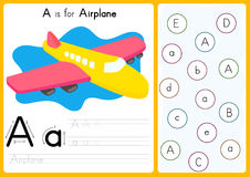 Alphabet A-Z Tracing and puzzle Worksheet,  Exercises for kids - illustration and vector. A4 paper ready to print Royalty Free Stock Images