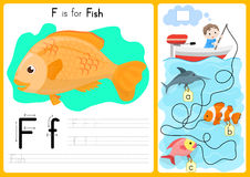 Alphabet A-Z Tracing and puzzle Worksheet,  Exercises for kids - illustration and vector. A4 paper ready to print Stock Photo