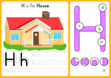 Alphabet A-Z Tracing and puzzle Worksheet, Exercises for kids - illustration and vector. A4 paper ready to print royalty free illustration