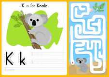 Alphabet A-Z Tracing and puzzle Worksheet,  Exercises for kids - illustration and vector. A4 paper ready to print Stock Images
