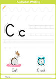 Alphabet A-Z Tracing Worksheet,  Exercises for kids - A4 paper ready to print Royalty Free Stock Photo