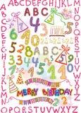 Alphabet, Zahlen und Felder für holid der Kinder vektor abbildung