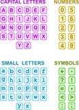 Alphabet-Zahlen und Symbole Lizenzfreie Stockfotos