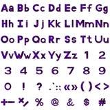 Alphabet, Zahlen und Zeichen stellten, Serpentine ein Lizenzfreie Stockfotos