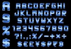 Alphabet, Zahlen, Währung und Symbole verpacken, rechteckiges bevele vektor abbildung