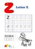 Alphabet, zebra. Illustration of an educational activity for children Stock Image