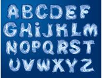 Alphabet - Zeichen werden durch Hoarfrost gebildet Stockbilder