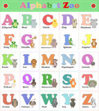 Alphabet Zoo, funny plush animals. English alphabet. Vector cart Royalty Free Stock Image