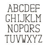 Alphabetart Design Handstift Serifguß, Linie Art Englische Sprachbuchstaben Schriftbildclipart, Vektorillustration Handabgehobene vektor abbildung