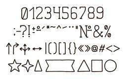 Alphabetart Design Handstift Serifguß, Linie Art Zahlen, Interpunktionszeichen Schriftbildclipart, Vektorillustration Hand gezeic vektor abbildung