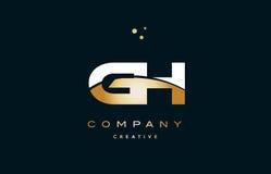 alphabetbuchstabe-Logo ico Handhabung am Boden g h weißes gelbes Goldgoldenes Luxus vektor abbildung
