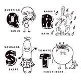 Alphabetbuchstabe Q R S T eine Frage, ein Kaninchen, eine Wurst und eine Tomate darstellend Stockfotos