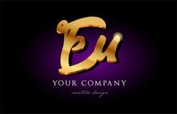 Alphabetbuchstabemetalllogo-Ikonendesign h Eu-EU 3d Goldgoldenes stock abbildung