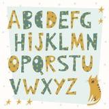 Alphabetbuchstaben in der Karikaturart Stockbild