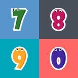 7 8 9 Alphabete mit 0 Karikaturen Stockfotografie