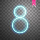Alphabete nummerieren 8 acht des blauen Neons auf transparentem Hintergrund Illustration Vektor Lizenzfreies Stockbild