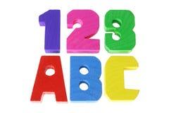 Alphabete und Zahlen Stockfotografie