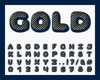 Alphabetgolddesign Schriftbildclipart Englische Buchstaben, Zahlen und Interpunktionszeichen Gusstypographie Hand gezeichnet ENV  lizenzfreie abbildung