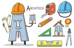Alphabeth occupation - Letter A - Architech. Vector Illustration of alphabet occupation - Letter A for Architech Royalty Free Stock Photo