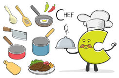 Alphabeth occupation - Letter C - Chef. Vector Illustration of alphabet occupation - Letter C for Chef Stock Photos