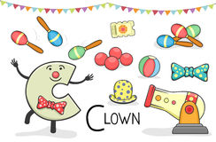 Alphabeth occupation - Letter C - Clown Royalty Free Stock Images