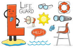 Alphabeth occupation - Letter L - Lifeguard Royalty Free Stock Photography