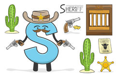 Alphabeth occupation - Letter S - Sheriff. Vector Illustration of alphabet occupation - Letter S for Sheriff Royalty Free Stock Photography