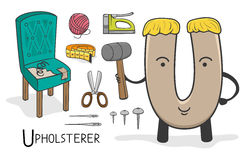 Alphabeth occupation - Letter U - Upholsterer Royalty Free Stock Image