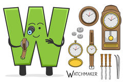 Alphabeth occupation - Letter W - Watchmaker. Vector Illustration of alphabet occupation - Letter W for Watchmaker Royalty Free Stock Image
