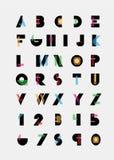 Alphabetic fonts. Black alphabetic fonts with color lines. Blue, red, orange, green, pink. Vector eps10 illustrator stock illustration